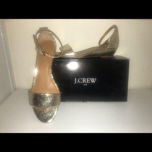 J crew size 8 metallic gold  Demi wedge sandal